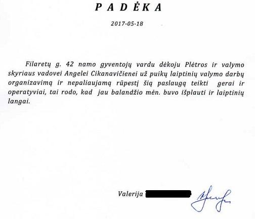 Filaretų g.42 padėka