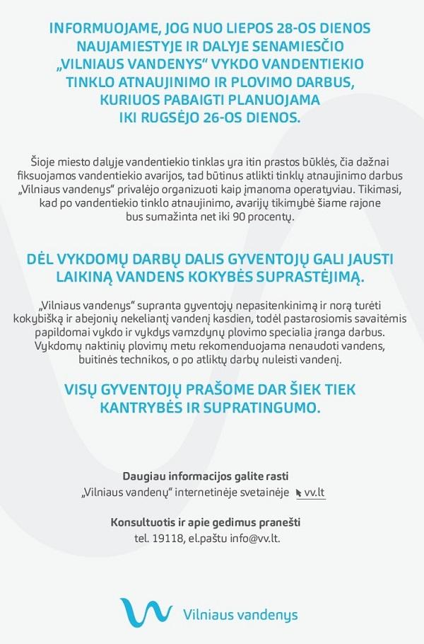 Vilniaus vandenys skelbimas